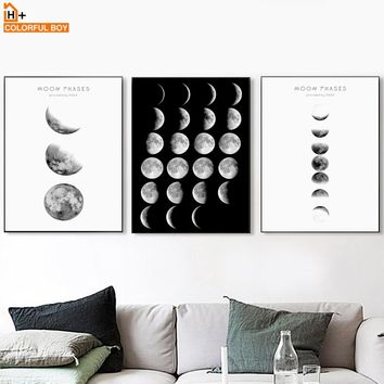 Moon Phase Landscape Wall Art Canvas Painting Nordic Posters And Prints Black White Pop Art Wall Pictures For Living Room Decor