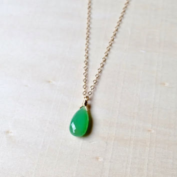 New Gem!  AAA Natural Green Chrysoprase Briolette Pendant in 14k Gold Fill, Green Gemstone Pendant, Gift, Natural Chrysoprase, Necklace
