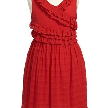 Girl's Burberry 'Finola' Sleeveless Ruffle Dress