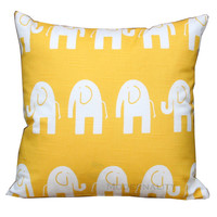 Animal Decor- Premier Prints Yellow Elephant Pillow Cover- 18x18 inches or Choose Size- Zippered Pillow- Nursery- Toddler Bedding
