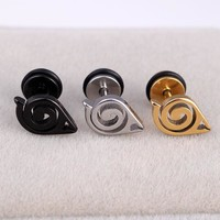 Fashion Men Silver Gold Black Naruto Anime Earrings Stainless Steel Geometric Punk Comic Stud