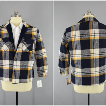 1960s Vintage Flannel Jacket / 60s Men's Plaid Coat / SEARS Men's Store / Quality Outerwear / Blue Plaid / Small - Medium