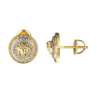 Medusa Face Round Earrings Greek Design 14k Gold Tone Screw On Iced Out Hip Hop