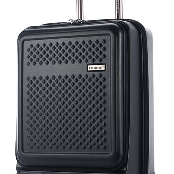 Ambassador Luggage Polycarbonate Mobile Business Carry On Spinner Trolley Suitcase Classic Black 20-Inch Carry-on '