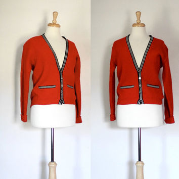 Vintage Red Wool Cardigan / Collegiate Ivy Style Sweater / Preppy Letterman Style
