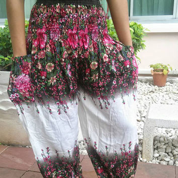 Flora Flower High Waist Yoga Elephant Pants Harem Boho Print Beach Hippie Baggy Rayon pants Gypsy Thailand Women Tribal Plus Size Hippie