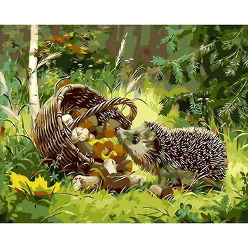 Hedgehog Diy Painting By Numbers Modern Wall Art Picture Paint By Numbers Unique Gift For Home Decor 40x50cm Artwork
