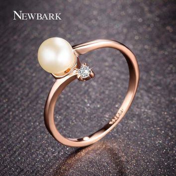 NEWBARK Fashion Rose Gold Color 1Pcs Simulated Pearl And 1pcs Tiny Rhinestones Accent Bypass Rings For Women Christmas Gifts