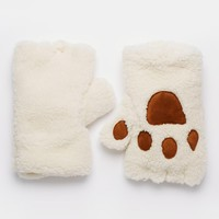 ASOS Faux Shearling Fingerless Paw Gloves