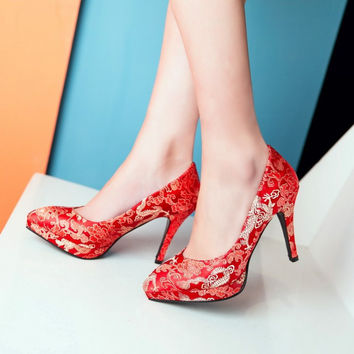 Red Silk Pointed Toe Platform Pumps Thin Heels 5124