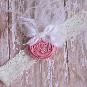 Shabby Chic dusty rose pink headband- silk rosette- shabby chic- newborn- girls headband- ancy headband-wedding-baptism-photo prop