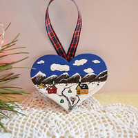 Hand painted Christmas ornaments, christmas tree decorations, heart ornament, folk art painting, wooden hearts, mountain scene, gift ideas