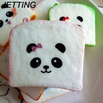 squishy slow rising Panda Bear Printed Key Chains Kawaii Sliced Squishy Bread Soft Toast Phone Straps Bag Parts & Accessories