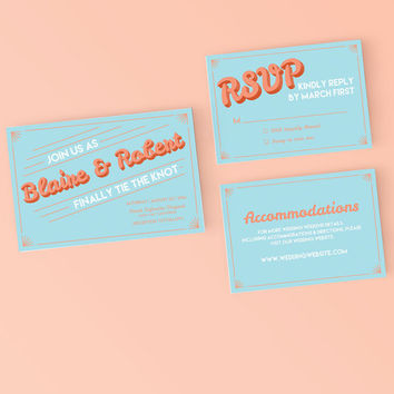 Printable Wedding Invitation Set - Retro art deco Invite, RSVP, Details Card - DIY Digital Ready to Print