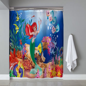 Cute Princess Ariel Disney Little Mermaid Custom Shower Curtain Limited Edition