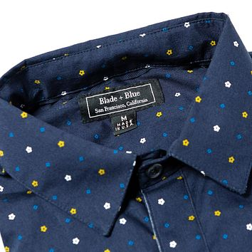 ON SALE THIS WEEK ONLY:  Navy Blue Mini Japanese Flower Print Shirt - 'Moser' Size L Available