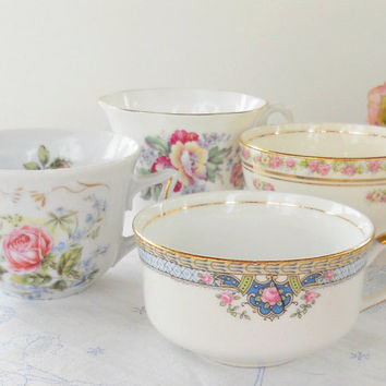 Vintage Cottage Chic Tea Party Mismatched Tea Cups, Set of 4, Shabby Chic, French Country, Mid Century,Wedding Bridal