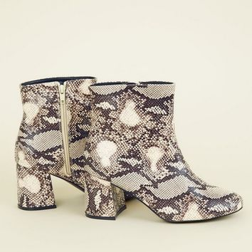 Wide Fit Light Brown Faux Snakeskin Boots | New Look