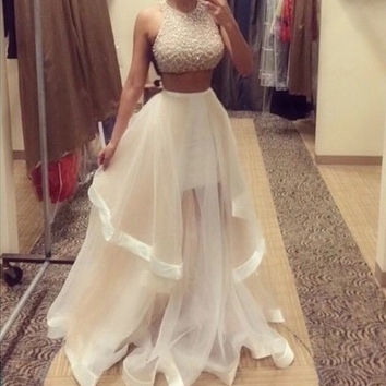 Homecoming Dress,Two Pieces Beadings Sleevesless Long Prom Dress