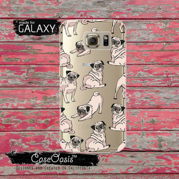 Pug Dog Pattern Puppy Funny Cute Doggy Tumblr Clear Galaxy S6 Case and Clear Galaxy S6 Edge Case Galaxy S7 and S7 Edge