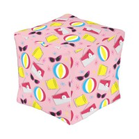 Nifty fifties - beach party square pouf