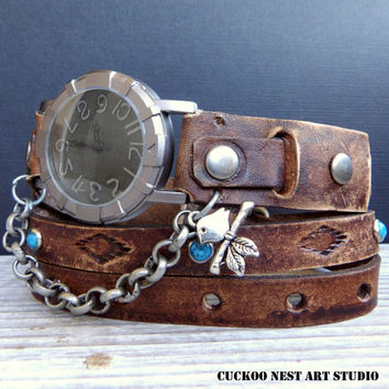 Leather Watch, Vintage Brown Wrap around Watch, Ladies watch, Bracelet Watch, Accessories, Handcrafted
