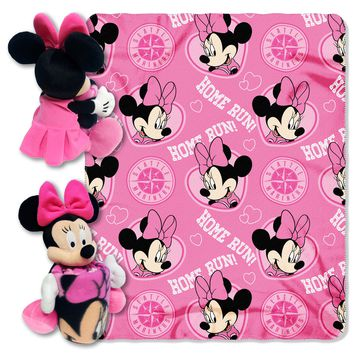 "Mariners OFFICIAL Major League Baseball & Disney Cobranded, 14"" Minnie Mouse Hugger Shaped Character Pillow and 40""x 50"" Fleece Throw Set  by The Northwest Company"