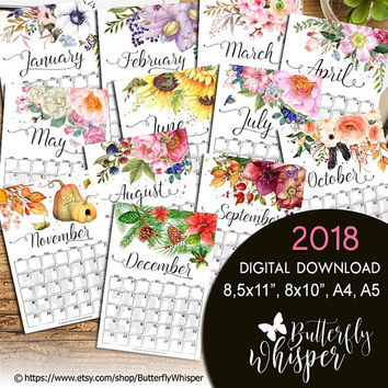 2018 Desk Calendar, Monthly Planner 2018, Chic PDF Planner, PDF small desk calendar, Planner inserts, 8x10, A4, 8,5x11, A5 Planner Pages