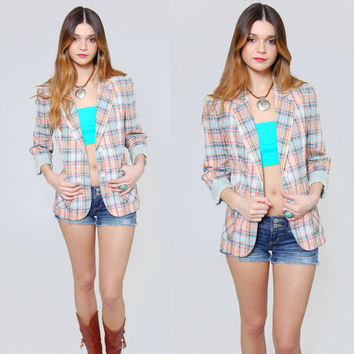 Vintage 80s PLAID Jacket Red and Blue Checked BOYFRIEND Blazer Indie Cotton Light Summer Jacket