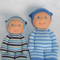 Big brother little brother Waldorf soft baby dolls, Handmade pocket sock dolls, Babyshower gift, Children birthday natural toys for baby boy