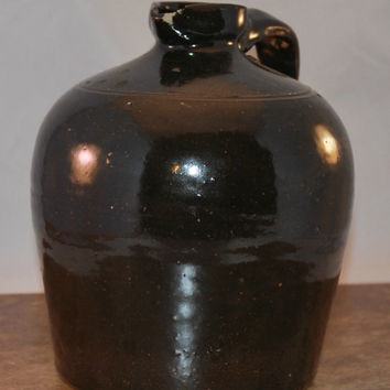 Antique Albany Slip Jug, Half Gallon with Spout and Handle (c.1870's) Beehive Style, Handmade Primitive Pottery, Whiskey, Water, Americana