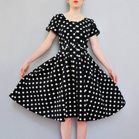 vintage 1980s black POLKA DOT cotton dress w/ belt XS S