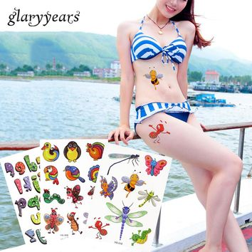 18 Designs 1 Piece Glitter Cartoon Tattoo Sticker Small Butterfly Bee Princess for Child Kid Temporary Tattoo Hand Neck Body Art