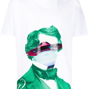 UFO Print White and Green T-Shirt