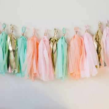 Peach, Pink, Mint, Gold Tassel Garland (12)