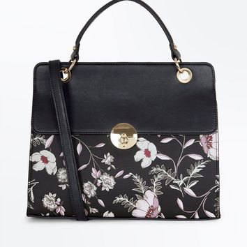 Black Floral Print Top Handle Bag | New Look