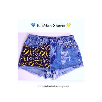Batman jean shorts.  All sizes. Teens, women Hulk, Superheroes, comic book, studs spikes trendy
