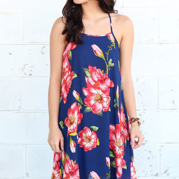 Tropical Excursion Floral Dress {Navy}