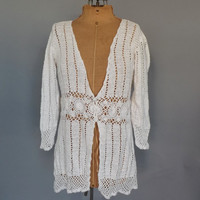 Vintage 90s does 70s Boho White Ramie Crochet Knit Cardigan Sweater Grunge Hippie Oversize Beach Cover Up SoCal Blouse Size Medium Large