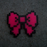 KAWAII Perler Bead Pink School girl Hair Bow Accessory