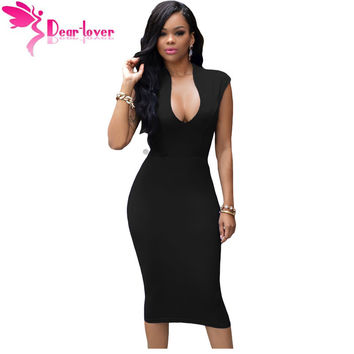 Dear-Lover Black Low V Neck Knee Dress with Slit LC61124 midi dresses bodycon summer trendy for party women Promotion Vestidos