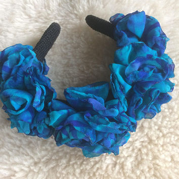 Mermaid flower crown wedding prom ascot party hair accessory gift for her valentines headband turquoise royal blue roses silk flowers