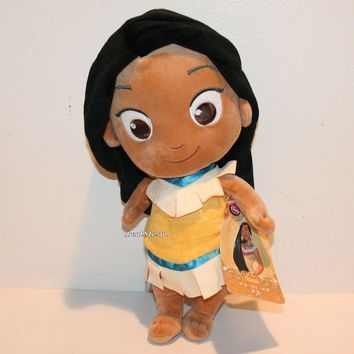 """Licensed cool Toddler Princess Pocahontas 12"""" Plush Doll Toy 2015 Disney Store Exclusive NWT"""