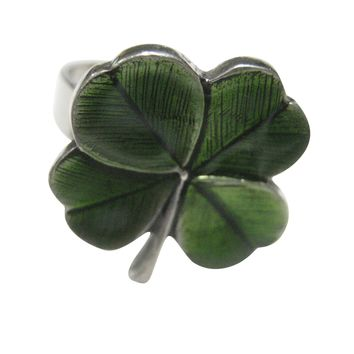 Textured Lucky Green Four Leaf Clover Adjustable Size Fashion Ring