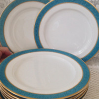 1899 Turquoise Embossed Band Luncheon Plates, Gold Encrusted Trim, Worcester Royal Porcelain, Richard Briggs, 19th Century China, Set of 8