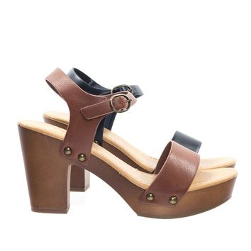 Chivas by Soda Retro Metal Stud Detail Faux Wooden Block Heel Platform Sandal