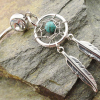 Turquoise Dream Catcher Belly Button Jewelry, Belly Button Ring, Healing Stone