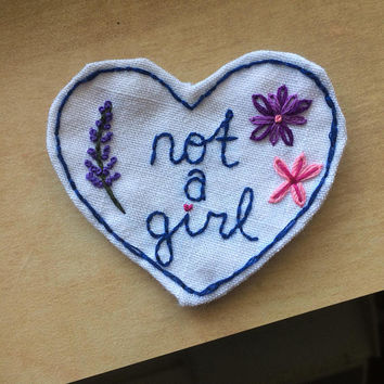 Not a Girl Small Design Nonbinary / Trans Pride Patch. Agender. Transmasculine. Trans Man. AFAB. Customized, Made to Order. Hand Embroidered