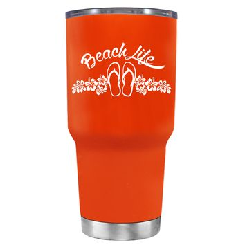 Beach Life Flowers and Sandals on Vermilion 30 oz Tumbler Cup