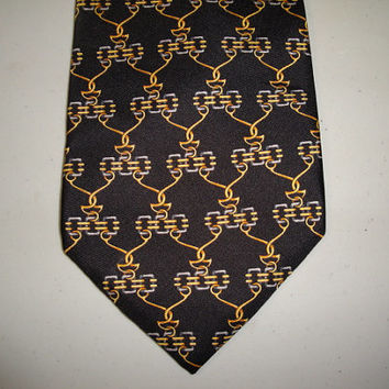 Mens Vintage Fendi Silk Tie Necktie Cravatte Made in Italy Chain Link Design Slight Fabric Flaw